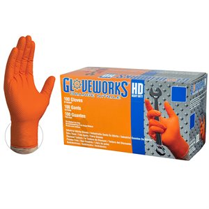 Orange Heavy Duty Nitrile Gloves